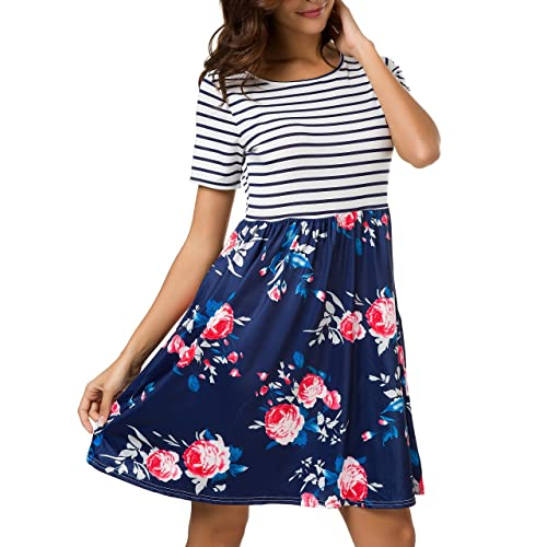 06c1ee1a38c AM CLOTHES Plus Size Summer Dresses for Women Short Sleeve Midi Dress  Floral Casual Striped with Pockets at Amazon Women s Clothing store
