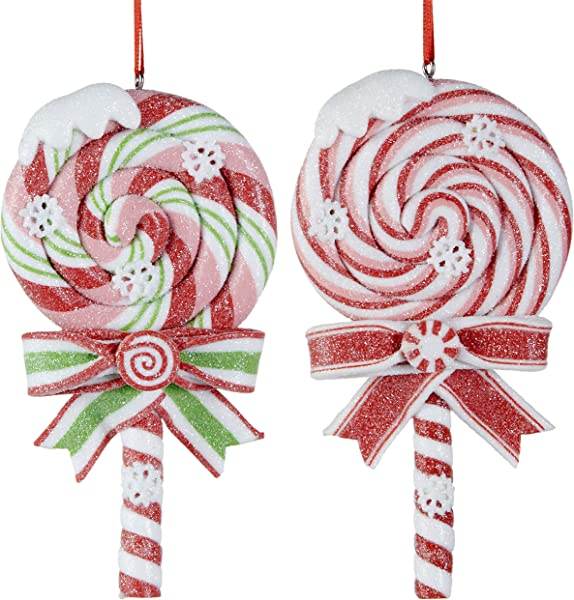 RAZ Imports Christmas Lollipop Candy Cane Ornaments Bundle Candy Cane Christmas Decorations Red And White Ornaments Lollipop Decor Set Of 2