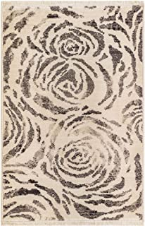 M By Liora MQU23816347 Marquee Modern Weave Roses Indoor Rug 2' X 3' Charcoal Grey and White