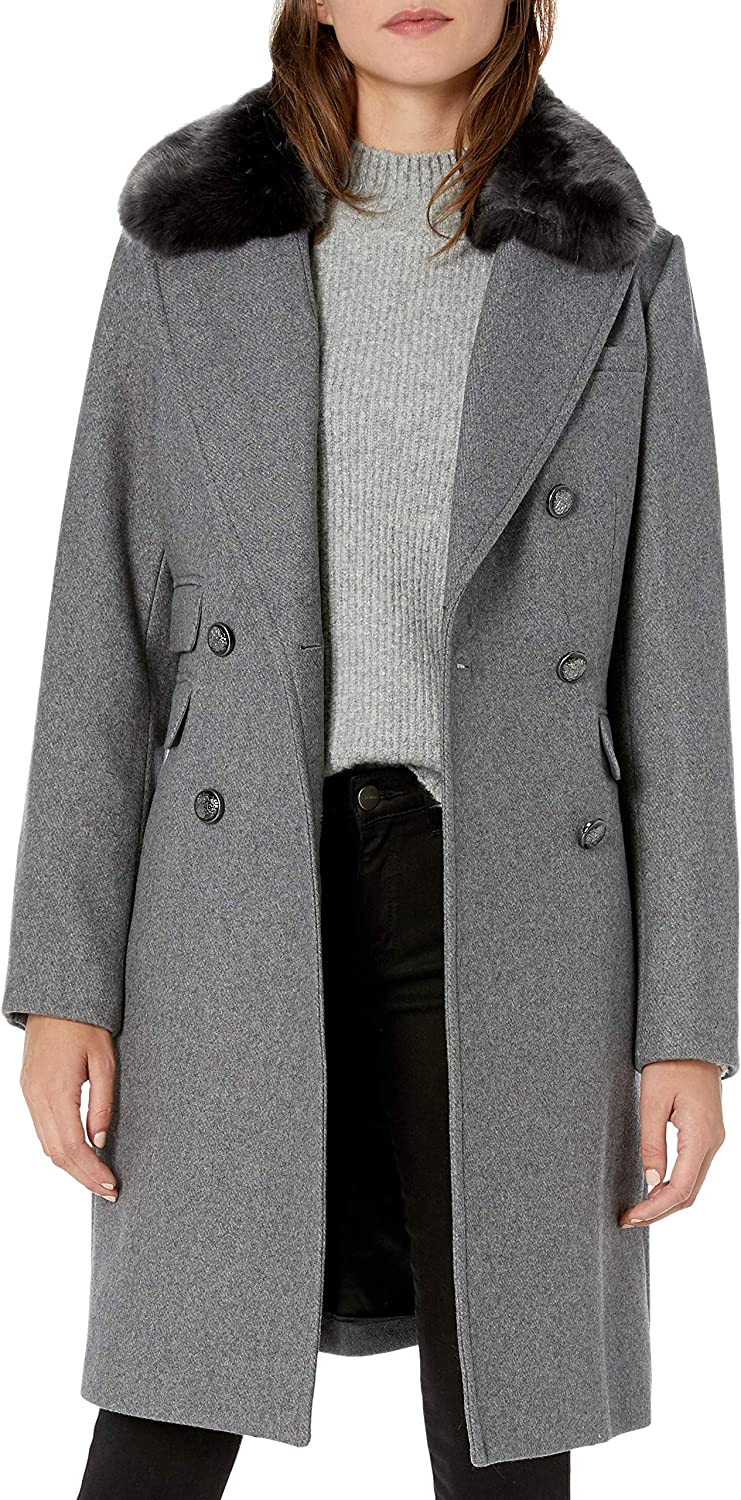 Vince Camuto Women's Wool Coat with Faux Fur Collar