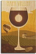 Lantern Press Napa Valley, California - Wine Glass and Vineyard (10x15 Wood Wall Sign, Wall Decor Ready to Hang)
