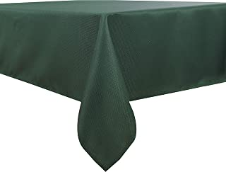 Biscaynebay Textured Fabric Table Coth, Water Resistant Spill Proof Solid Color Tablecloths for Dining, Kitchen, Wedding and Parties, Hunter Green 60 by 84 Inch Rectangle