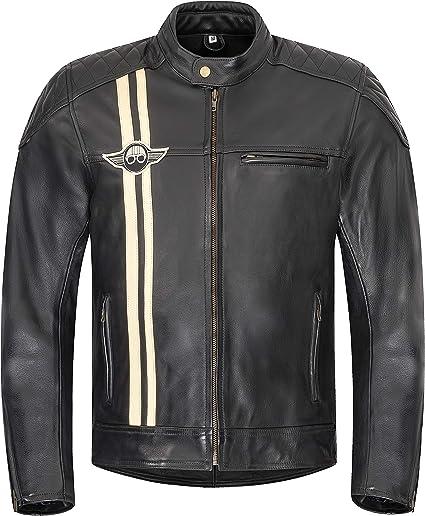 Xls Motorradjacke Classic Stripes Für Herren Schwarz Aus Leder Retro Bikerjacke Herausnehmbares Thermofutter Größe M Auto