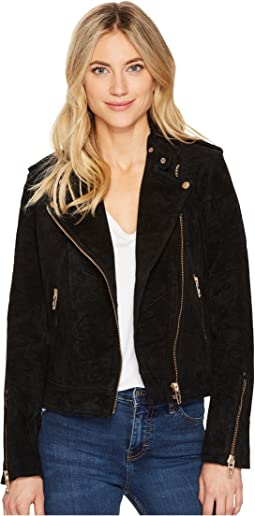 Black Suede Moto Jacket in Onyx