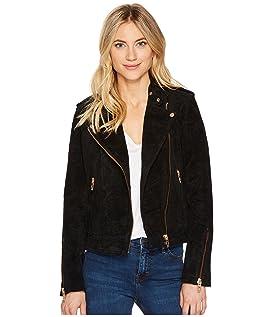 Black Suede Moto Jacket in Onyx