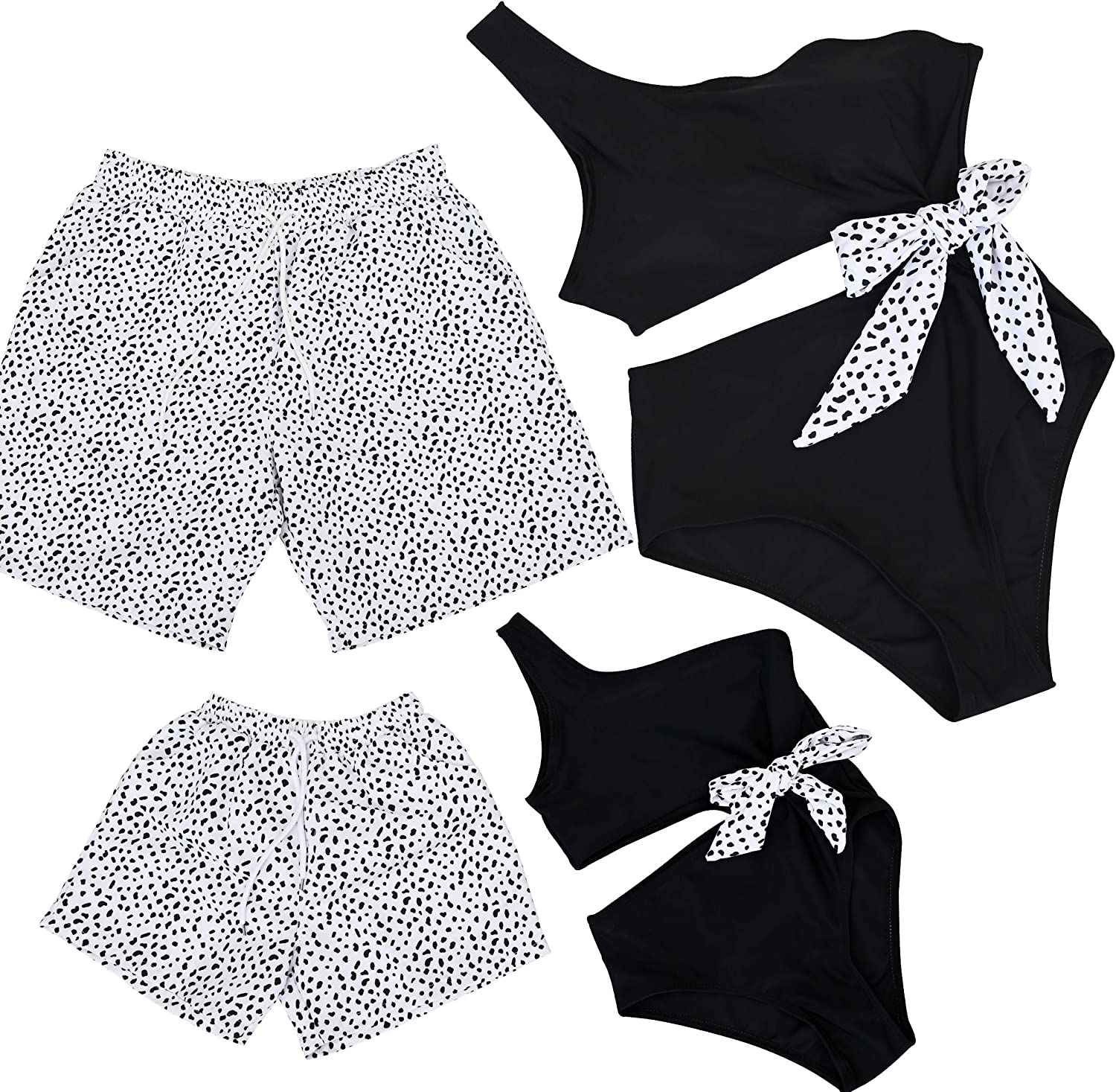 PURFEEL One Piece Family Matching Swimsuit Coulpes Swimwear Dad and Me Matching Shorts