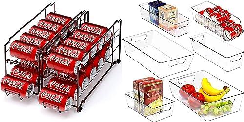 lowest Simple Houseware Stackable Beverage Soda new arrival Can Dispenser online + Plastic Freezer Storage Organizer online sale