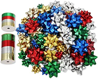 Zoe Deco Star Bows in Boxed Set (Assorted Colors & Sizes, 100 pc), 2 Rolls of Ribbon, Self-Adhesive Gift Wrapping Bows, Sm...