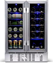 NewAir AWB-360DB Dual Zone Wine and Beverage Cooler, Built-In Stainless Steel Refrigerator for Soda Beer or Wine, Holds 18 Bottles and 60 Cans