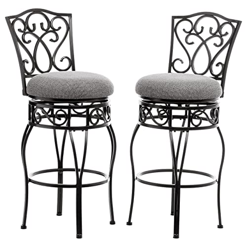 f9e876b6ab968 ModHaus Living Classic Scroll Black Metal 30 inch Curved Back Bar Stools  Bar Height with Back