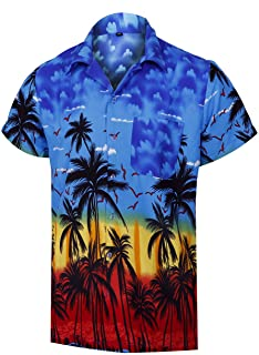 Britainlotus Mens Fashion Short Sleeve Beach Shirt Summer Casual Button Down Hawaiian Shirt
