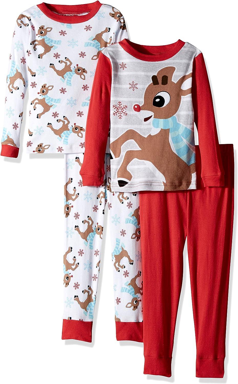 Rudolph Boys' 4-Piece Cotton Pajama Set