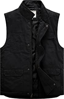 Men's Stand Collar Washed Cotton Workwear Quilted Vest