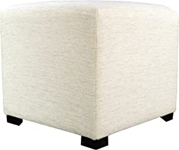 product image for MJL Furniture Designs Merton Collection, Fabric Upholstered Modern Cube Foot Rest Ottoman with 4 Button Tufting, Belfast Series, Ivory