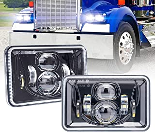 Rectangular 4X6 LED Headlights DOT Approved with High Low Beam H4651 H4652 H4656 H4666 H6545 Headlamp Replacement for Freightliner Peterbilt Kenworth Ford Probe Chevrolet Oldsmobile Cutlass Trucks 60W