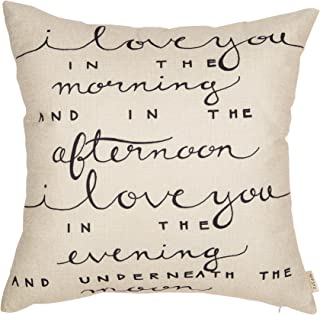 Fjfz I Love You in The Morning and in The Afternoon Funny Quote Cotton Linen Home Decorative Throw Pillow Case Cushion Cover with Words for Sofa Couch, Black, 18