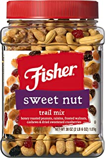 Fisher Snack Sweet Nut Trail Mix, 38 Ounce, Honey Roasted Peanuts, Raisins, Frosted Walnuts, Cashews, Dried Sweetened Cran...