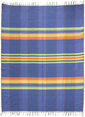 NOVICA Multicolor Hand Woven Cotton Tablecloth, Happy Awakening