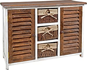 ts-ideen Cómoda estantería armario de madera estilo de la alquería rustico shabby para baño pasillo cocina sala blanco marrón