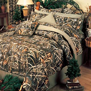 Realtree MAX-4 Camouflage 9 Pc Queen Comforter Set (Comforter, 1 Flat Sheet, 1 Fitted Sheet, 2 Pillow Cases, 2 Shams, 1 Bedskirt, 1 Square Pillow)