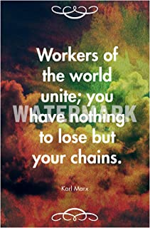 Introspective Chameleon Karl Marx Quote Workers of The World Unite. Art Print Photo Poster Unique Gift - Size: 24 x 16 Inches (61 x 40.5 cm)