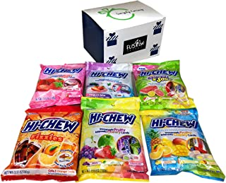 Hi Chew Candy 6 Flavor Variety Pack Bundle (Tropical Mix, Sours, Fizzies, Yogurt Mix, Strawberry, Original Mix) in Fusion Select Gift Box