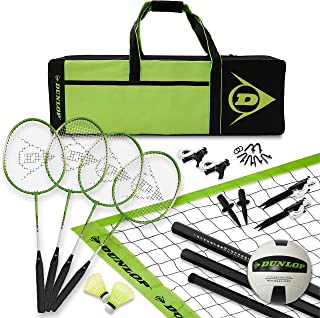 DUNLOP Volleyball Badminton Lawn Game: 11- Piece Outdoor Backyard Party Set with Carrying Case
