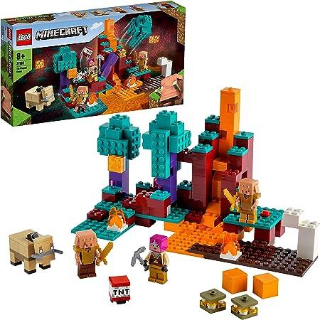 LEGO Minecraft La Warped Forest, Playset con Cacciatrice, Piglin and Hoglin, Giocattoli per Bambini 8 Anni, 21168