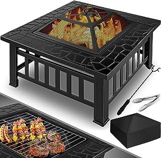 KESSER Feuerstelle mit Grillrost & Grillzange Feuerschale 82x82x50cm, 3in1 Multifunktional Fire Pit für Heizung/BBQ Grill, Garten Terrasse, Metall Feuerkorb mit Schutzhülle Schürhaken Funkenschutz