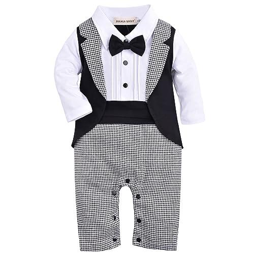 93dc4412620aa ZOEREA Baby Boys Tuxedo Outfits Gentleman Romper Jumpsuit with Bow Tie  Wedding Suit 3-18