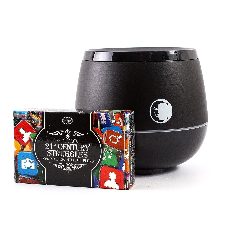 雹地下維持Mystic Moments | Black Aromatherapy Oil Ultrasonic Diffuser With Bluetooth Speaker & LED Lights + 21st Century Struggles Essential Oil Blend Pack