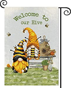 Balgardekor Bee Gnomes Garden Flag Vertical Double Sided Burlap Welcome to Our Hive Summer Yard Outdoor Decor Home Decor (12.5 x 18, Bee Gnomes)