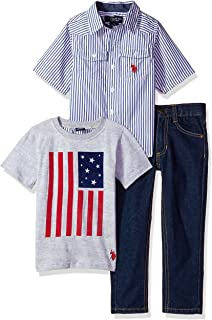 U.S. Polo Assn. Boys' Little Short Sleeve, T-Shirt and Pant Set
