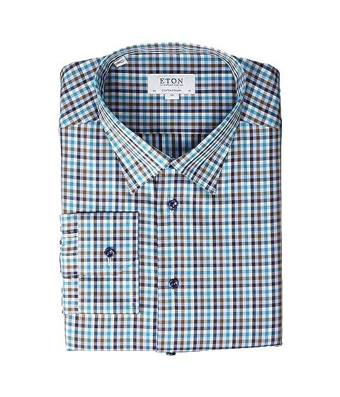 Eton Contemporary Fit Plaid Button Down Shirt