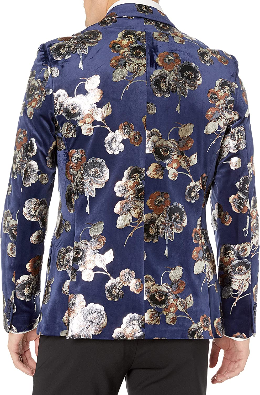 Azaro Uomo Men's Dress Party Prom Blazer Suit Jacket Casual Slim Fit Floral