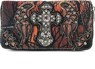 Justin West Camouflage Tree Bling Rhinestone Angel Wing Cross Shoulder Concealed Carry Handbag Purse