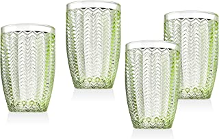 Twill Highball Glasses Beverage Glass Cup by Godinger – Emerald Green – Set of 4