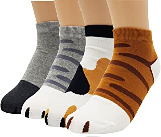 Girl's Cute Kitty Cat Paws Socks with Paw Prints on Toes (Ankle Height)