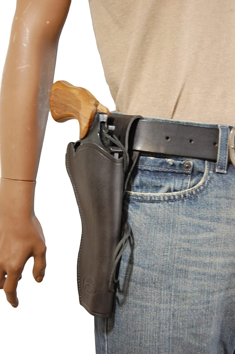 New Barsony Black Leather 49-er Style for Louisville-Jefferson County Mall inch Gun Max 54% OFF Rev Holster 6