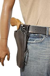 Barsony New Black Leather 49-er Style Gun Holster for 6 inch Revolvers