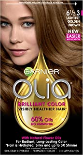 Garnier Olia Ammonia Free Permanent Hair Color, 100 Percent Gray Coverage (Packaging May Vary), 6 1/2.3 Lightest Golden Brown Hair Dye, Pack of 1
