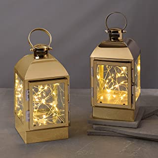 Decorative Lantern with Fairy Lights - Gold Metal, 8 Inch, Battery Operated, 30 Warm White LED Lights Inside, 6 Hour Time...