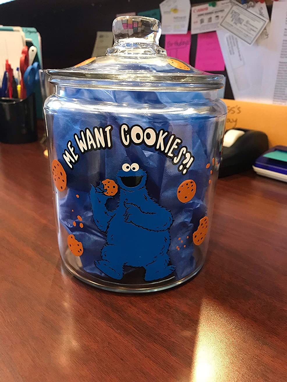 Cookie Jar Vinyl Decal, DIY cookie jar decor comes with Cookie Monster, writing, cookies and crumbs THIS IS A DECAL ONLY