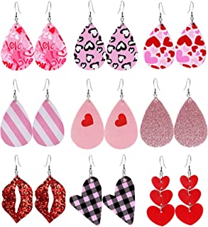 Makone Valentine's Day Earrings for Women, 9 Pairs Teardrop/Lip/Heart-Shaped Fau