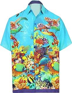 LA LEELA Men's Regular Fit Camp Hawaiian Shirt Button Down Up Swim Wear Printed