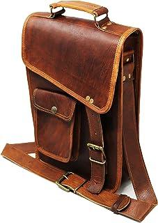 """11"""" leather messenger bag laptop case office briefcase gift for men computer distressed shoulder bag"""