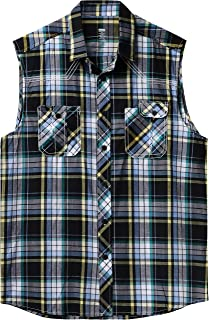 Mens Button Down Sleeveless Plaid Flannel Shirts