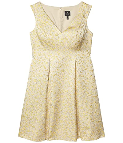 Adrianna Papell Jacquard Pleated Fit-and-Flare Dress (Yellow Multi) Women