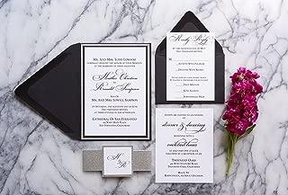 eggplant and silver wedding invitations