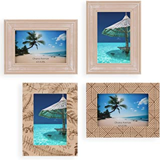 Ohana Avenue 4x6 Picture Frame Set of 4 - Table Top & Wall Mount Wood Photo Frame Sets for Kitchen, Gallery, Home and Office - Beach Home Decor Photo Frames Pack – Nautical, Seaside & Ocean Décor